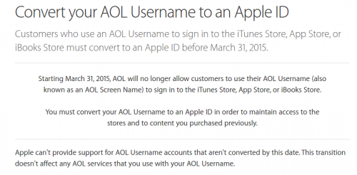 Apple ID AOL