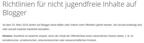 Google Blogger Nicht Jugenfreie Inhalte