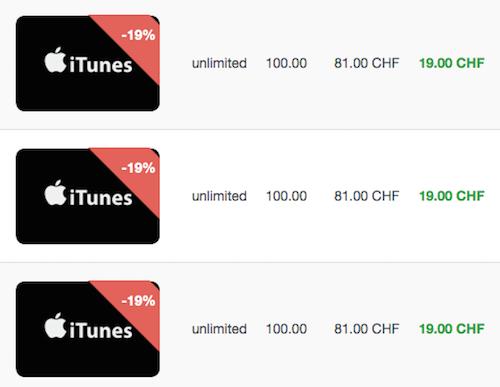 Cardchange iTunes-Karten