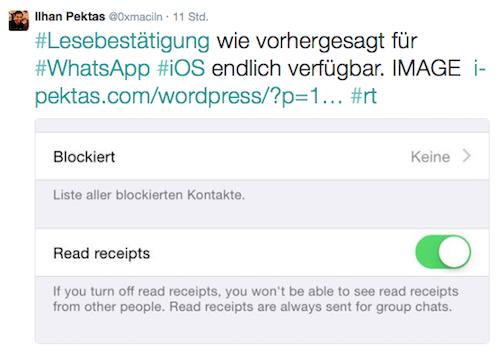 WhatsApp Lesebestaetigung Pektas