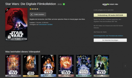 Amazon Star Wars Paket