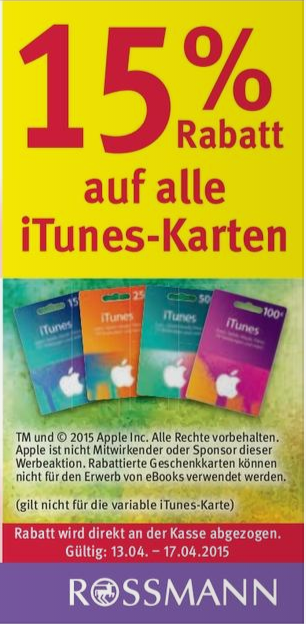 Rossmann iTunes Deal Apr15