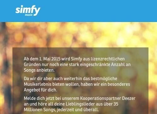 Simfy Deezer