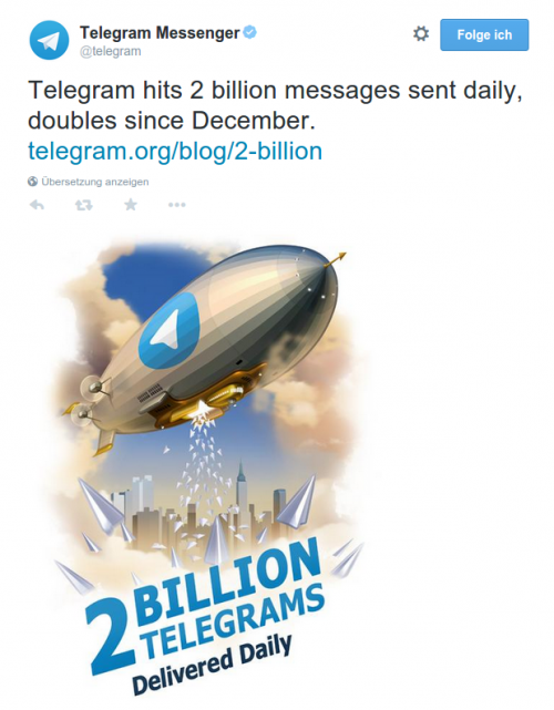 Telegram 2 Milliarden Nachrichten