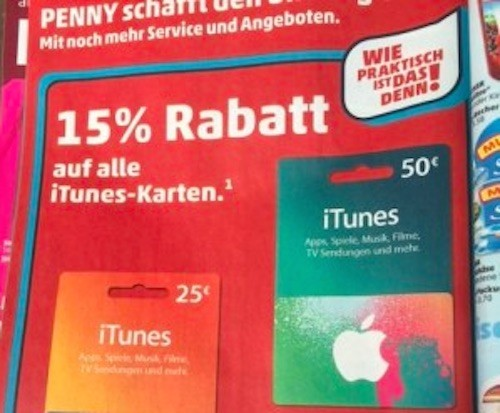 Penny iTunes Karten 15 06 2015