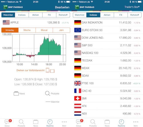 Traders Box Ansicht App iPhone