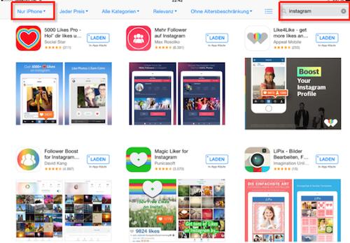 iPad Bug iPhone App Suche