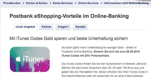 iTunes Code Postbank