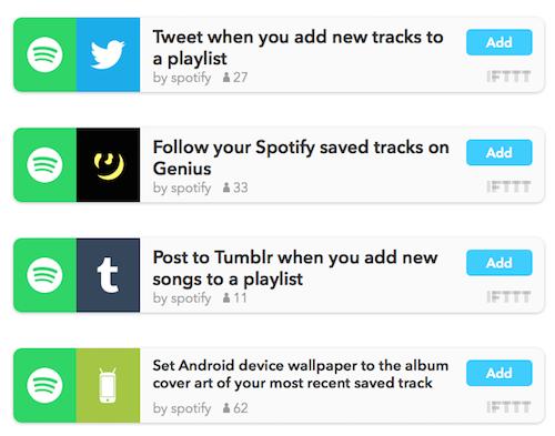 IFTTT Spotify Rezepte