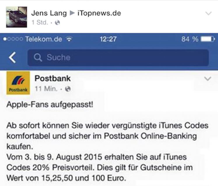 Postbank 20 Prozent iTunes Karte