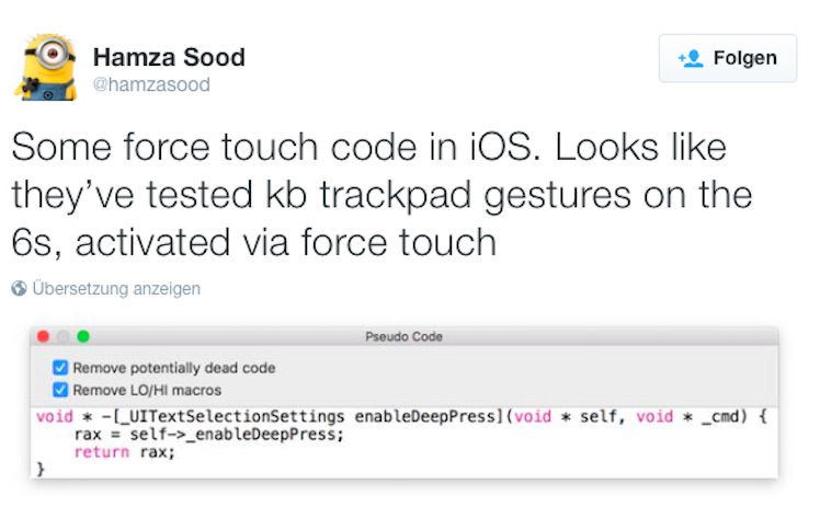 Sood Force Touch Tweet