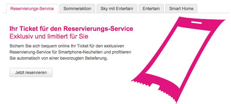 Telekom Reservierungsseite