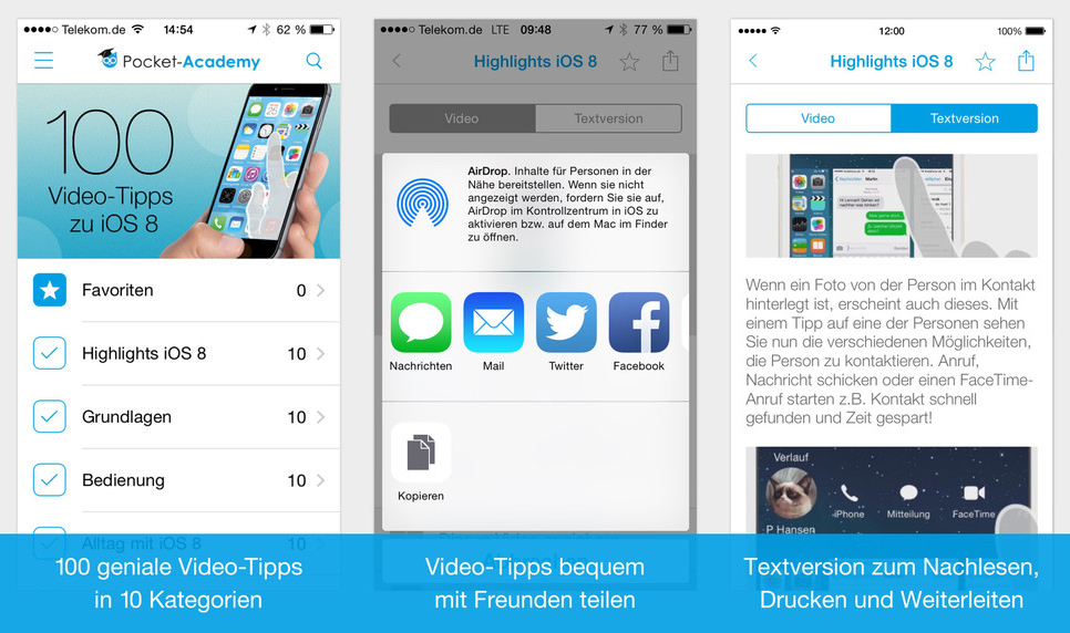 100 Video Tipps Screen