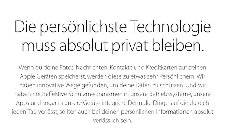 Apple Datenschutz