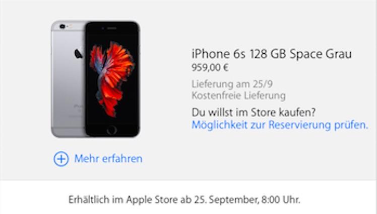 Bestellung iPhone 6s