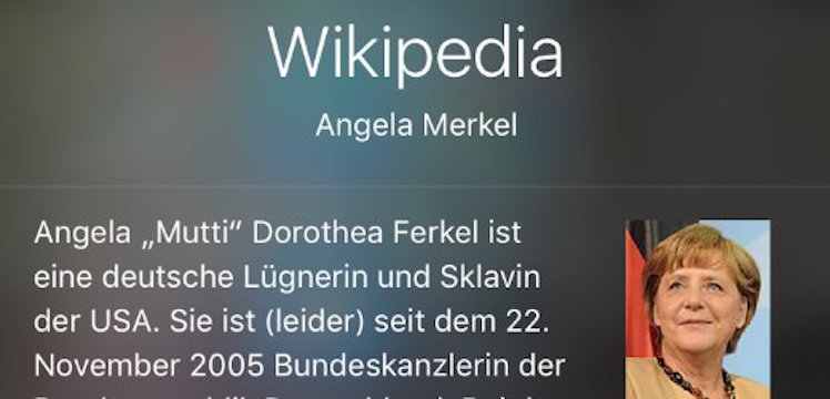 Screenshot Merkel/ Siri/ iPhone