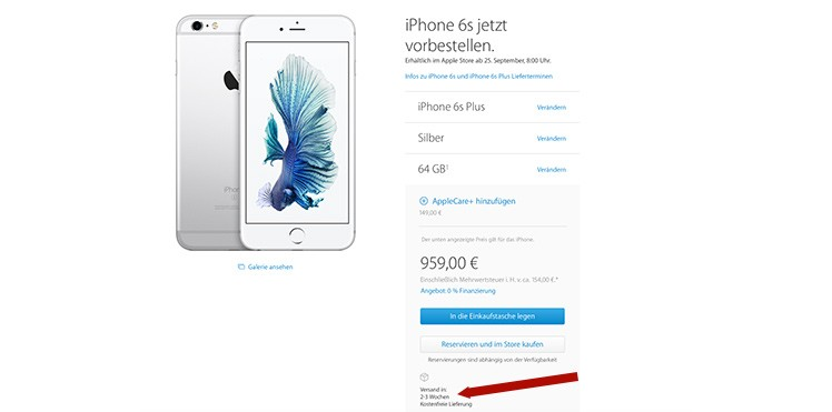 iPhone 6S Plus Bestellung