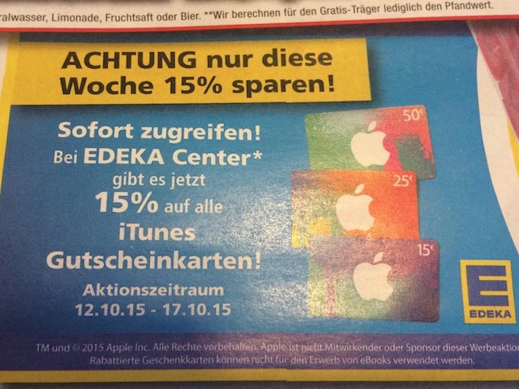 Edeka iTunes-Karten 12 10 15