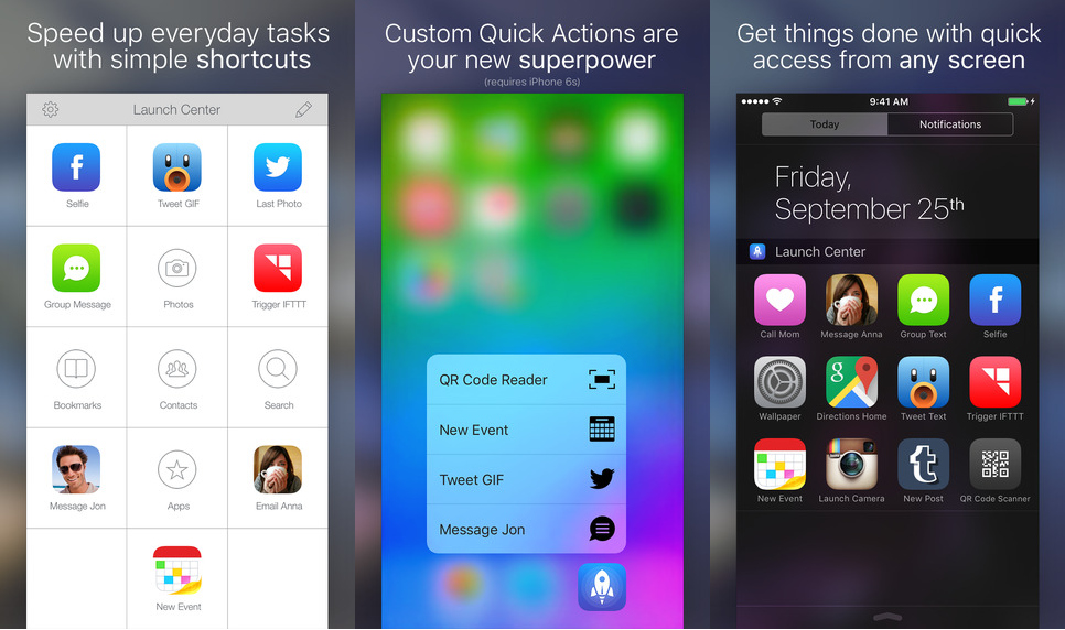 Launch Center Pro Screen iPhone