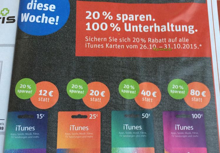 iTunes-Karten 26 10 2015