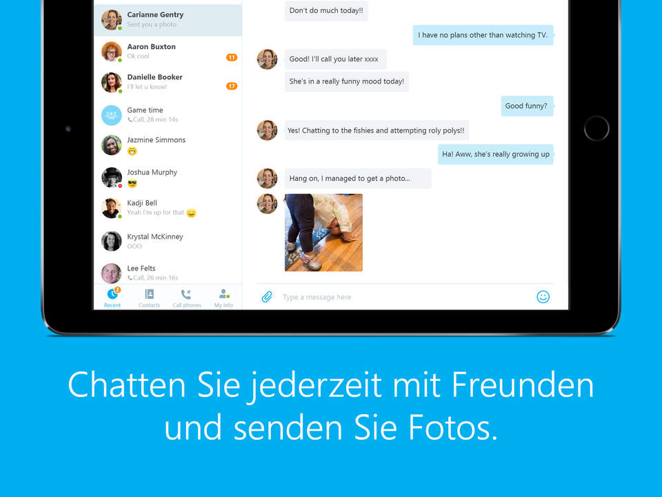 skype iPad Screen