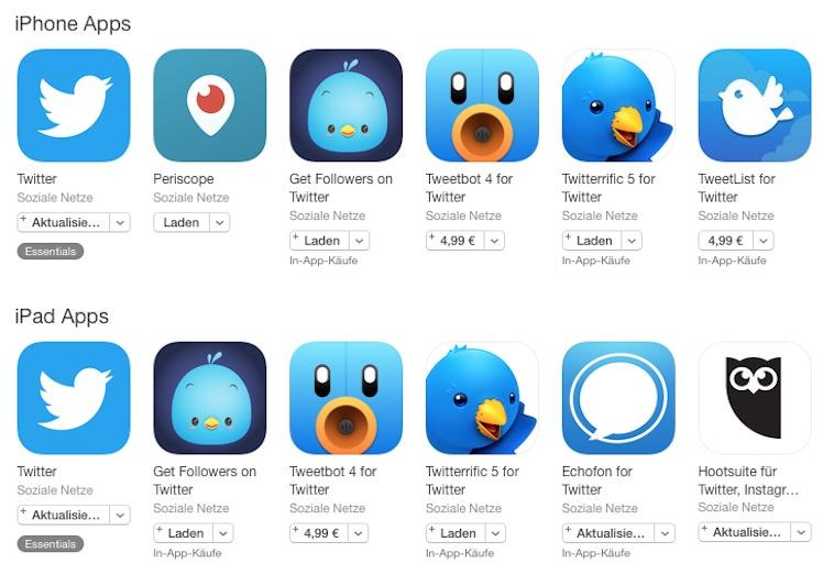 App Store Suche Twitter