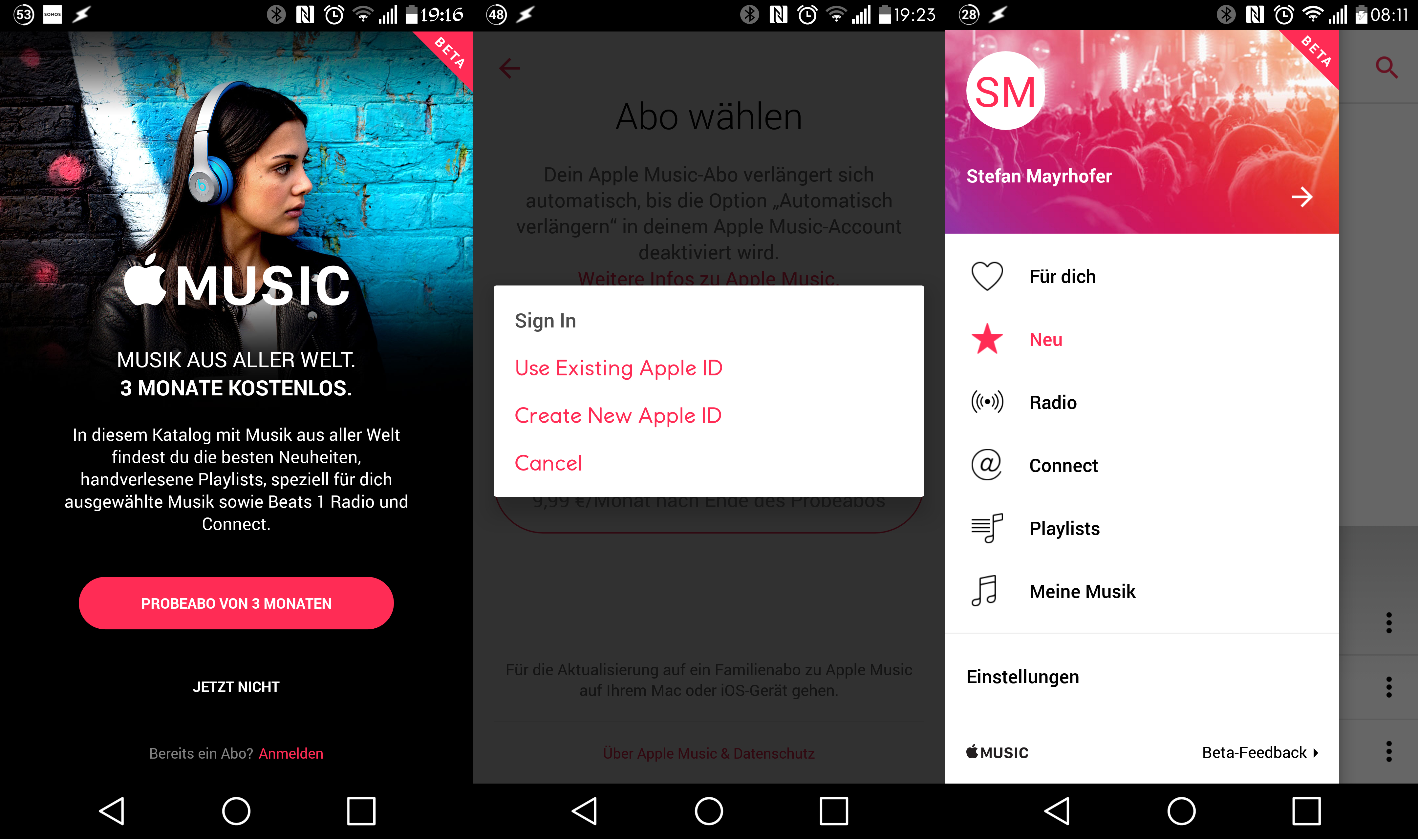Apple Music Android Screen1