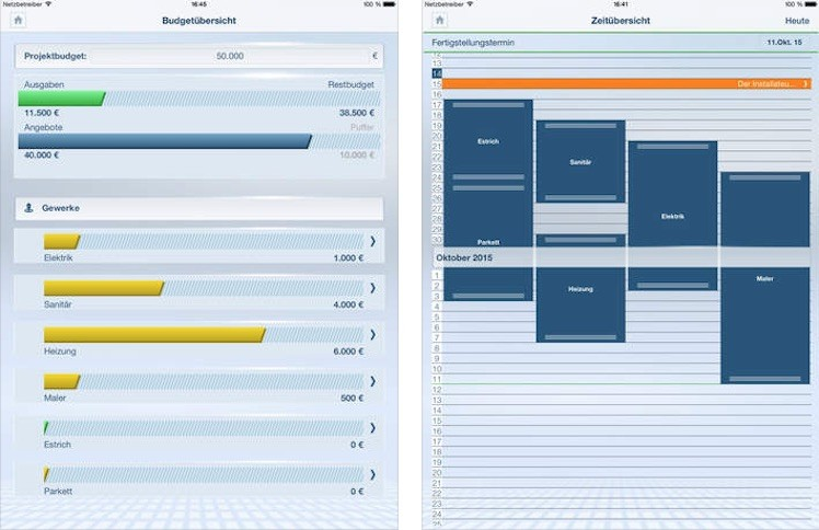 Bauprojekt iPad Ansicht
