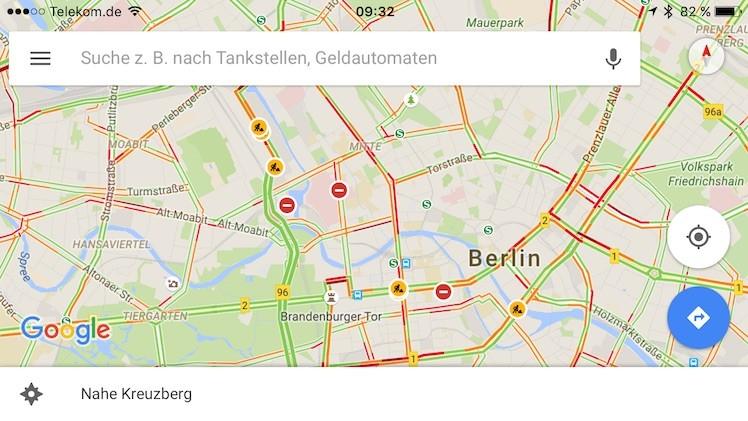 Google Maps Verkehrshinweise