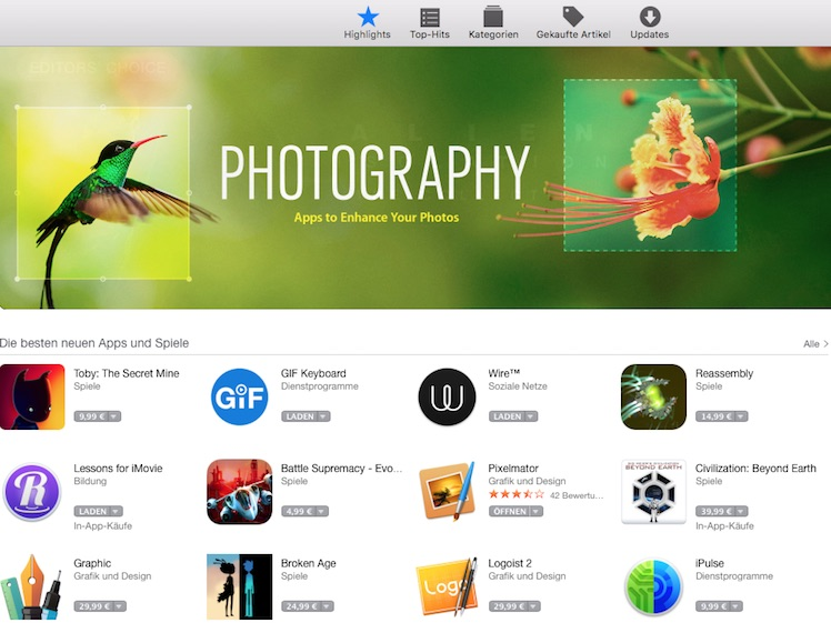 Mac App Store Storefront