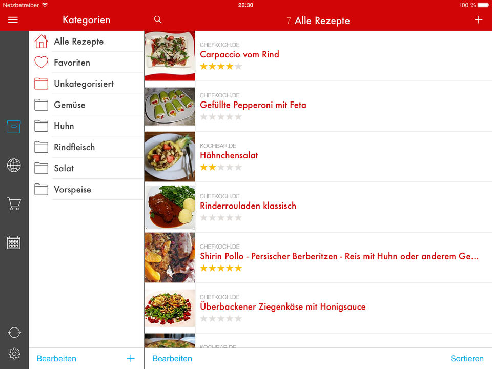 Paprika Rezept Manager Screen
