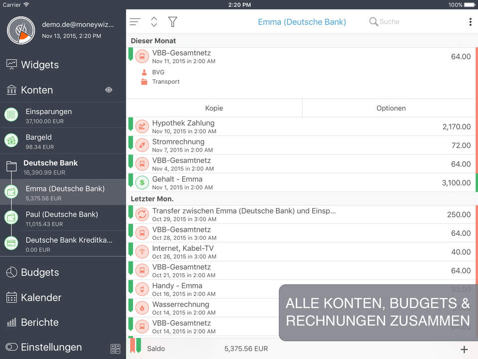MoneyWiz 2 Screen