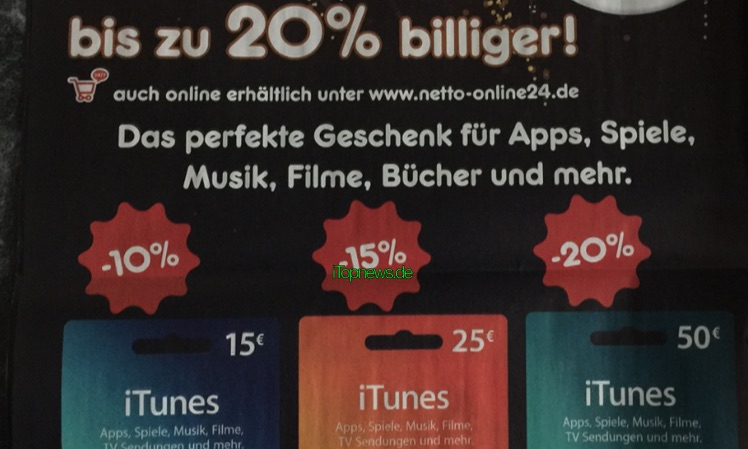 iTunes-Karten Netto 28.12.2015