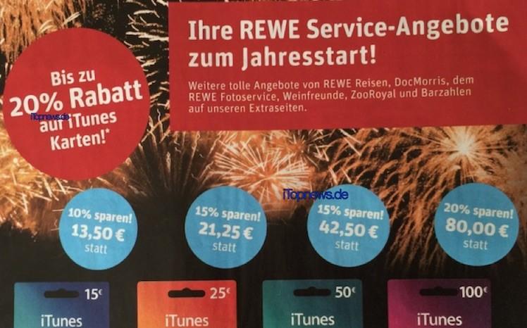 Rewe iTunes-Karten 4.1.2016