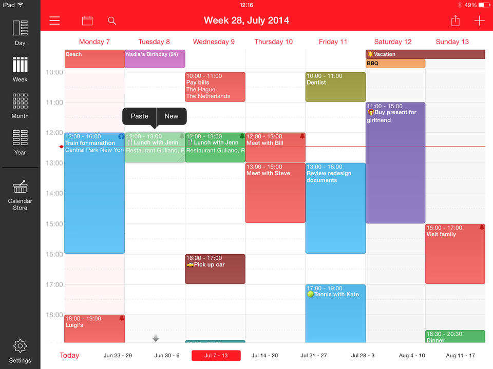 Week Calendar Screen