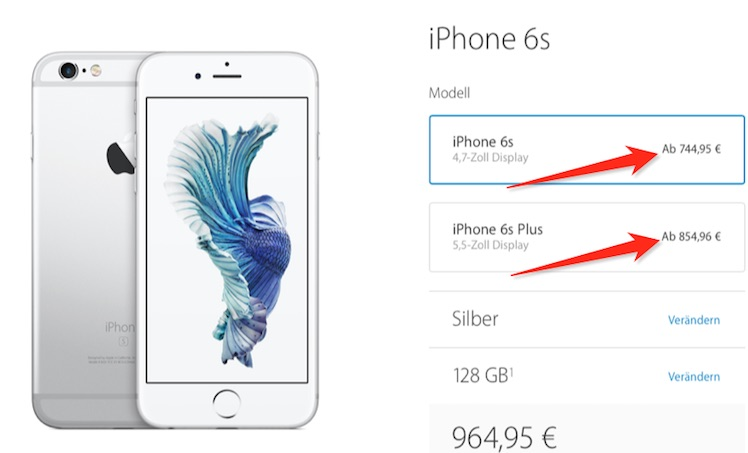 iPhone 6s Preise 1. Januar apple.com:de