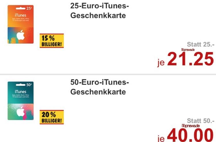 iTunes Karte guenstiger ab 25.1.2016