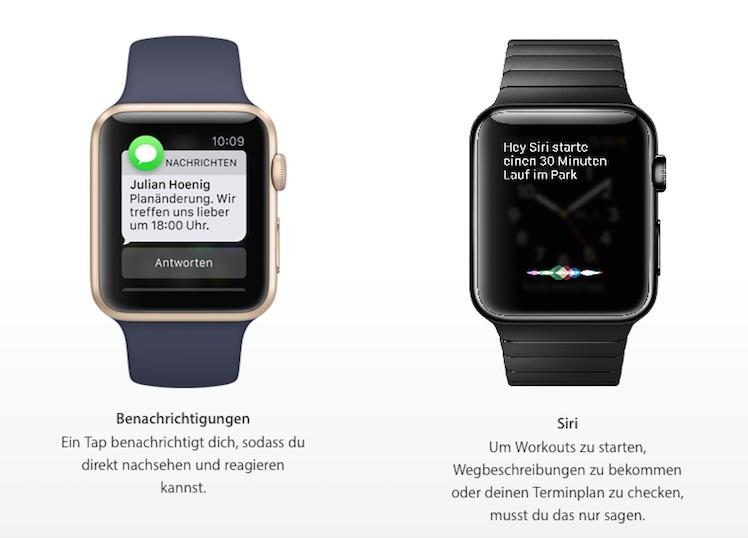 Benachrichtigungen Apple Watch