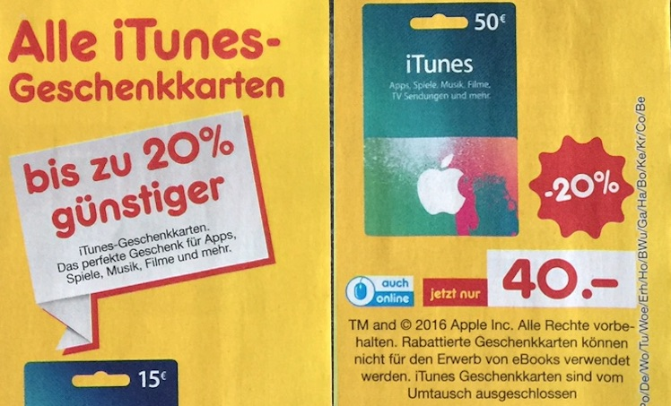 Netto iTunes Karten ab 18.2.2016