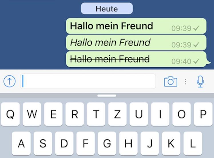 Ansicht Formatierung WhatsApp