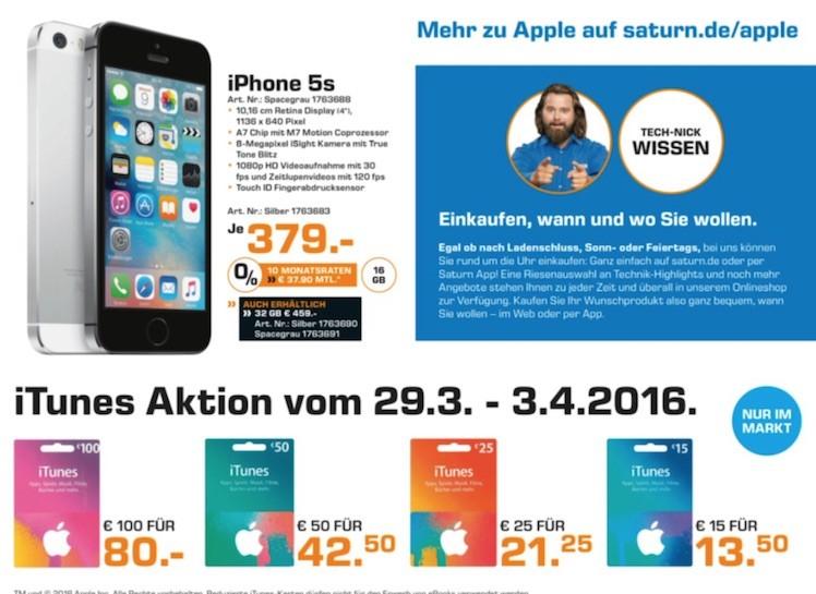 Saturn iTunes-Karten bis 3.4.2016