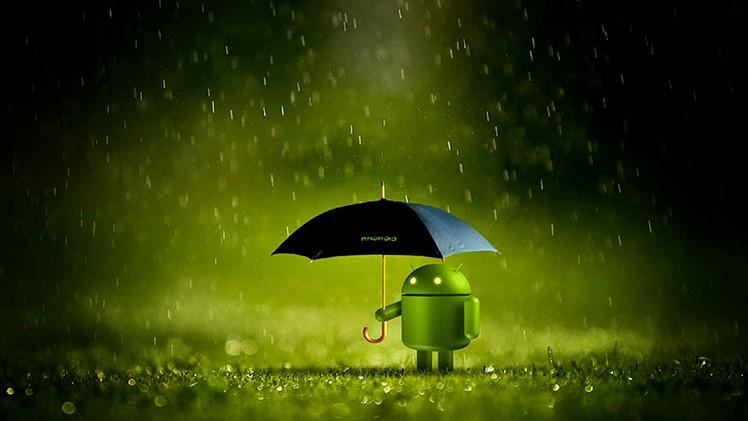 Android steht im Regen