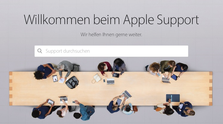 Apple Support Website neu 2016