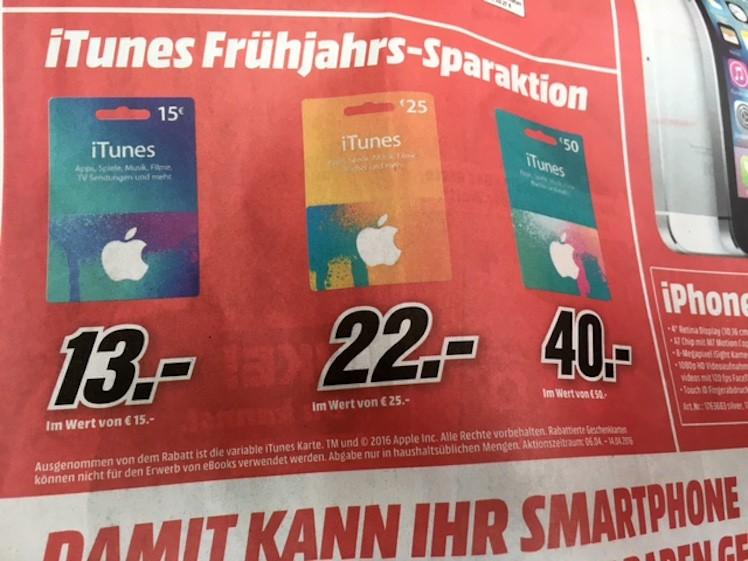 Media Markt iTunes-Karten 6.4. 14.4.2016