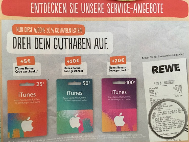 Rewe Bonus iTunes-Karten ab 11.04.16