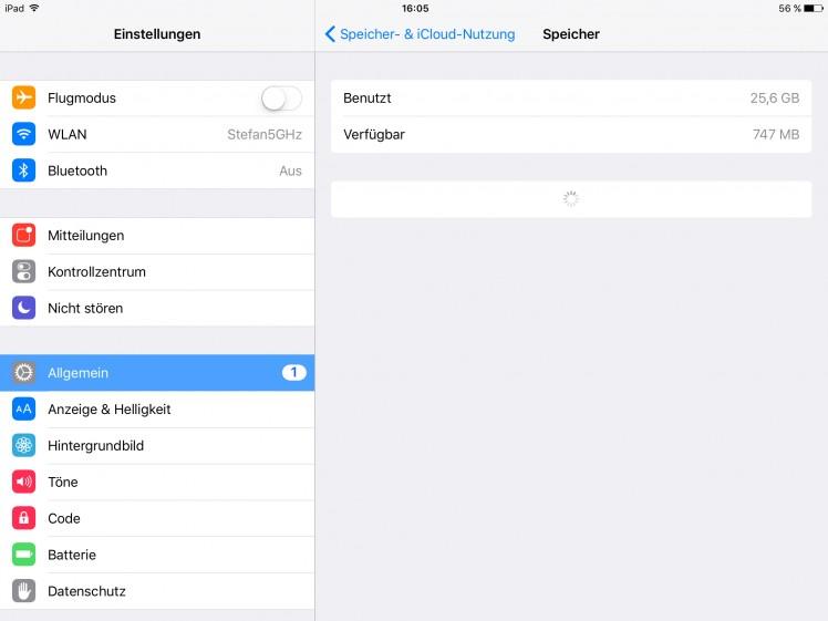 iOS Einstellungen Speicher