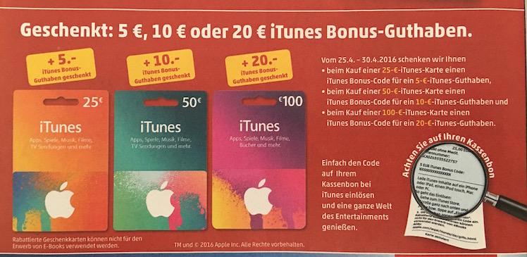 iTunes-Karte Bonus penny 25.4.2016