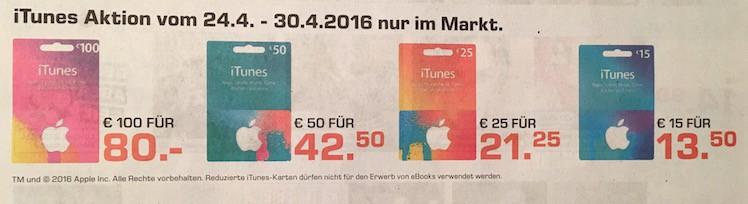 iTunes Karte Rabatt Saturn 27.4.2016