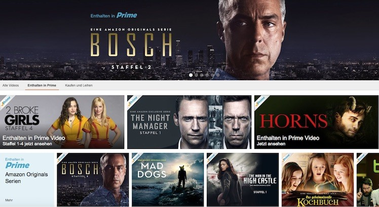 Amazon Prime Video Ansicht