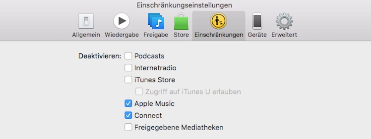Apple Music verbergen in iTunes